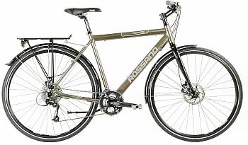 Suomalaisen Rossanon laadukas ja varusteltu hybridi. Pyörässä on levyjarrut.