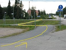 Esimerkki mutkittelevasta ajolinjasta.