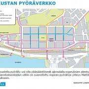 Suunnitelman kuva keskustan pyöräväyläverkon tavoitetilanteesta.