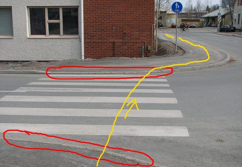 Sivusiirtymä aiheuttaa tässäkin risteyksessä hankalan mutkittelun kävellen ja pyörällä kulkeville. Reunatuet korostavat risteyksen hankaluutta pyörällä ja vaikkapa rullatuolilla liikkuvien kannalta.